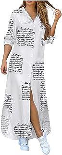 فستان طويل فضفاض كاجوال باكمام طويلة وطباعة لمجموعة الخريف، بنمط قميص للنساء من خامة الجينز. فساتين طويلة بجيب يغلق بزر