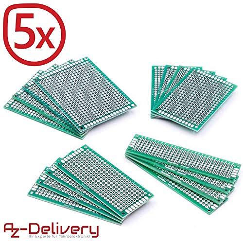 AZDelivery 5x Set 16 x PCB Circuit Board Breadboard PCB Millefori Scheda Prototipazione per progetti fai da te e per Arduino con eBook