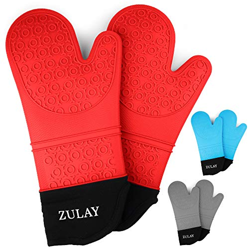 Zulay (Extra Long) Silicone Oven Mitts - 1 Pair Oven Mitts Silicone Heat Resistant with Quilted Cotton Liner - Flexible Oven Mit Kitchen Mittens for Baking, Cooking, Grilling & More (Red)