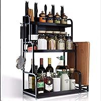 キッチン収納ラック、3段冷蔵庫スパイスラックペーパータオルホルダーディスペンサー多目的収納棚