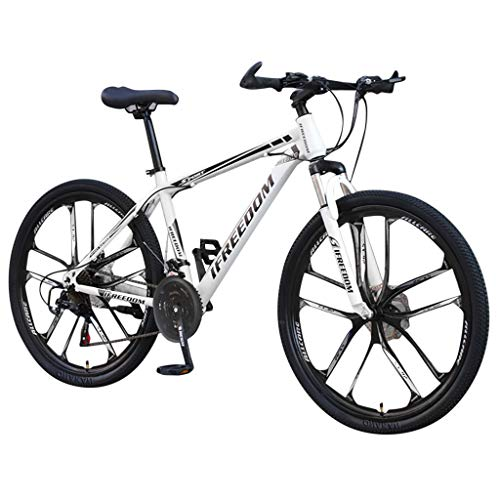 8888 Mountain Bike BicycleOutroad Mountain Bike, 26 inch 21 Speed Full Suspension Bike for Adult Teens,Trail Bike High Carbon Steel Folding Bicycle (White)