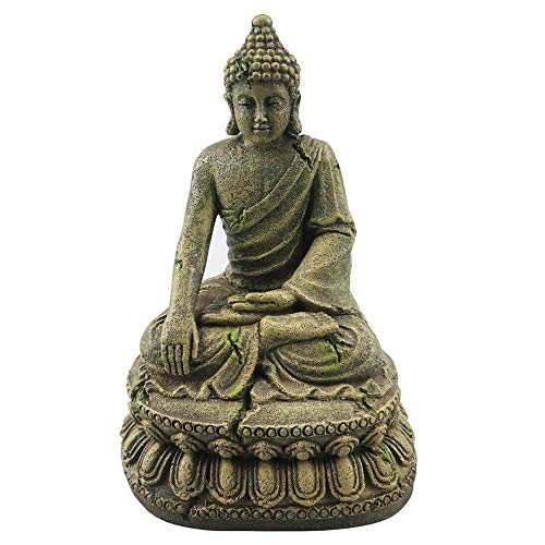 XiR Fish Tank Buddha Sitting Statue Aquarium Decorations Reptiles Tank Ornament (Grey-Green)