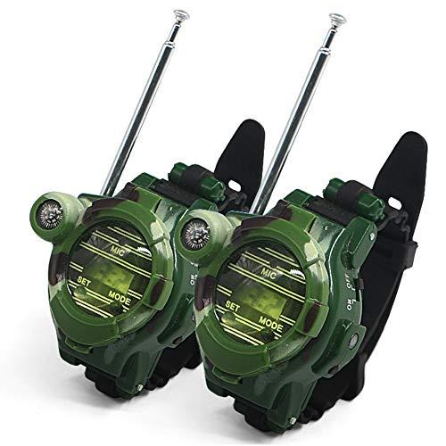 Walkie Talkies Toy para niños Camo Outdoor Army Watch Adventure Toys 7 en 1 Juguetes multifuncionales de comunicación por Radio bidireccional 150 Metros 2PCS