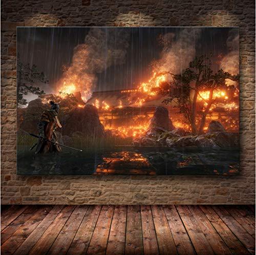 H/L Póster De Decoración De La Pintura De Sekiro: Shadows Die Twice En HD Canvas Art Canvas Painting Posters E Impresiones 50X70Cm -Pd278