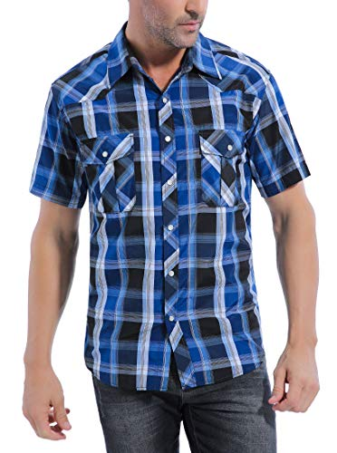 Coevals Club Men's Western Button Down Cowboy Short Sleeve Casual Shirt with Pearl Snap (Bule & Black#4, XXL)