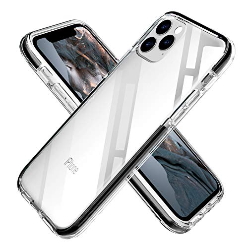 OHNICE iPhone 11 Pro Max Case Clear Transparent Anti-Yellow TPU Cover with Soft Crystal Corners Rubber Bumper Shockproof Protective Case for Apple 2019 New iPhone 11 Pro Max 6.5 inch (Black)