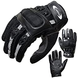 PROANTI motorcycle gloves motorcycle gloves summer (size XS - XXL, black, short) - L