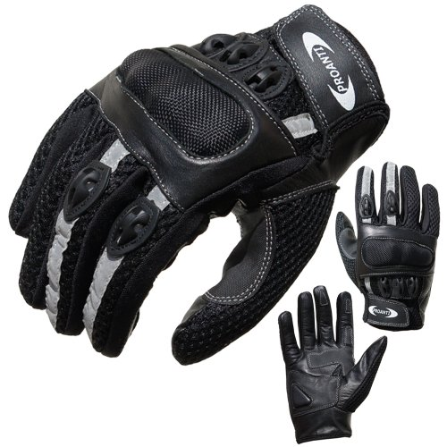 PROANTI Motorradhandschuhe Motorrad Handschuhe Sommer (Gr. XS - XXL, schwarz, kurz) - L
