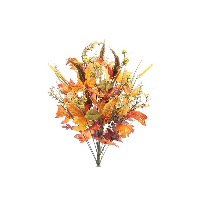 """silk flower arrangements admired by nature abn3b003-gdor-mix- artificial autumn flowers/maple leaves/berries fall festive harvest display, 25"""", gold/orange mix"""