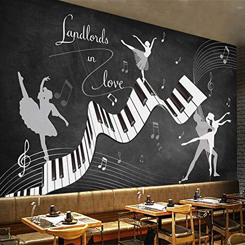 Benutzerdefinierte 3D Retro nostalgische Tafel Poster Wandbild Musik Graffiti Piano Dance Beauty Restaurant Café Dekoration/Größe:450X300cm