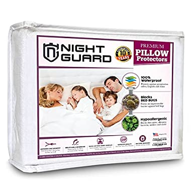 Night Guard Pillow Protectors (Set of 2) - Waterproof, Bed Bug Proof, Hypoallergenic - Premium Zippered Cotton Terry Covers - 130gsm - Size 20 x 26 Inches (King)