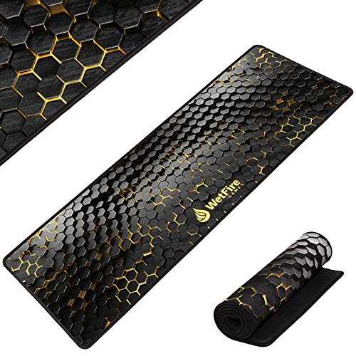 Extended Gaming Mouse Mat/Pad - XL Large, Wide (Long), Stitched Edges | 37.4W x 13L, 5mm Thickness (Black_Gold)