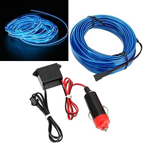 HEQIE-YONGP Luz LED para Coche Auto Lámparas LED de 12V del Coche frío Luces Decorativas lámpara del Coche Que Labra Tiras de luz de neón Flexible 5m EL Cable (Emitting Color : Blue)