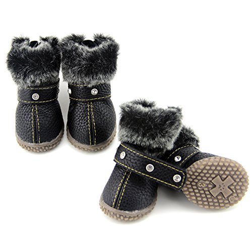 ZeroTone Warm Dog Snow Boots Waterproof Anti-Slip Small Dog Puppy Cat Winter Boots Pet Shoes 2 Styles #1-#5 (#2, Rhinestone Style - Black)