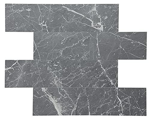 Fliesenspiegel, 5 Blätter, 30,5 x 30,5 cm, PVC, Stein-matt, grau, U-Bahn-Marmor, als Wand-Spritzschutz für Küche, Bad und Kamin, MT006-BLKSTR36.