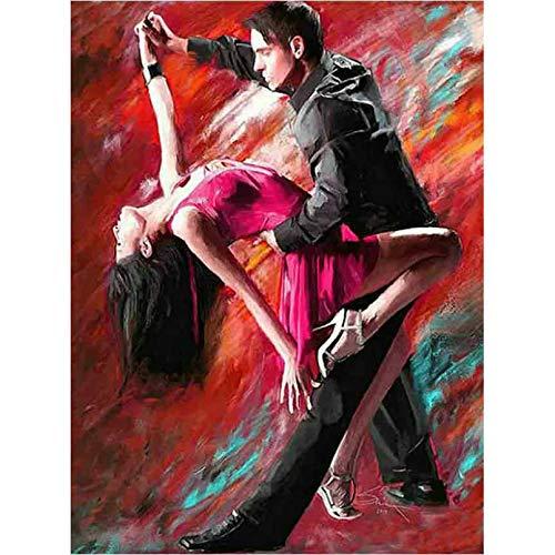LBGMN 5D Diy bordado de diamantes Navidad Tango baile pareja regalo mosaico de diamantes pintura de diamante completo Kit de decoración de punto de cruz-40x50cm(15.7x19.7inch)