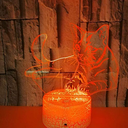 SHIJIE1701AA Pasillo luz de Noche Luz de la Noche 3D for la pequeña lámpara de Mesa de Colores for niños voltios 3D Gato Luz 3DLED Luz acrílico 3D estéreo Visual Light Touch USB Luz Nocturna