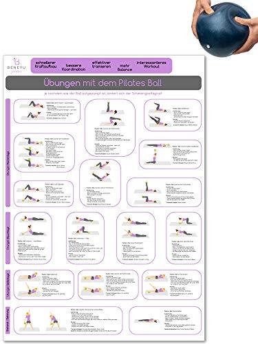 beneyu ® Pilates Poster für Pilates Ball & Gymnastikball Klein in Deutsch, DIN A2 (60x42cm) Klimaneutrale Produktion - (auf A4 gefalzt)