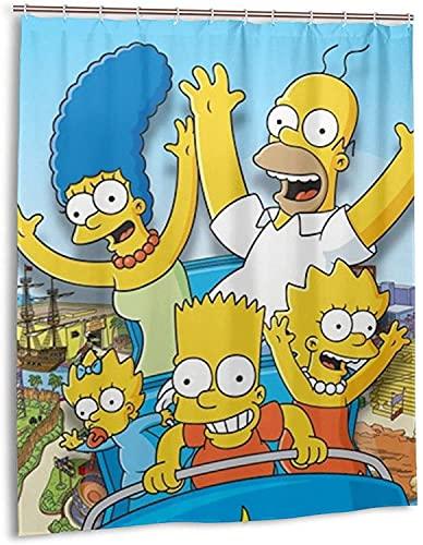Anime Simpsons Duschvorhang Badezimmer Dekor Exquisite Schimmelresistent Wasserdicht Extra Lang Badvorhang mit 12 Haken