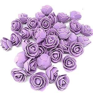 Silk Flower Arrangements J-Rijzen Artificial Flowers 100PCS 3CM Mini Fake Roses for DIY Wedding Bouquets Centerpieces Party Baby Shower Home Decorations (Lavender)