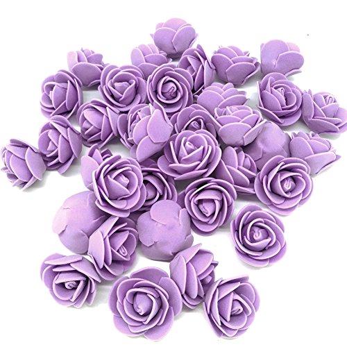 J-Rijzen Artificial Flowers 100PCS 3CM Mini Fake Roses for DIY Wedding Bouquets Centerpieces Party Baby Shower Home Decorations (Lavender)