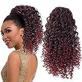 ColorfulPanda Extensiones de cabello ombre rojo Afro Kinky Curly Ponytail Cabello Yaki para mujeres negras, Clip en cierre superior Pieza de pelo de cola de caballo con cordón negro natural 16'