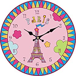 MEISTAR Cute Cartoon Style Wooden 14 Inch Wall Clocks for Kids Room and Children Room Decor,Creative Colorful Eiffel Tower Pattern Battery Wall Clock