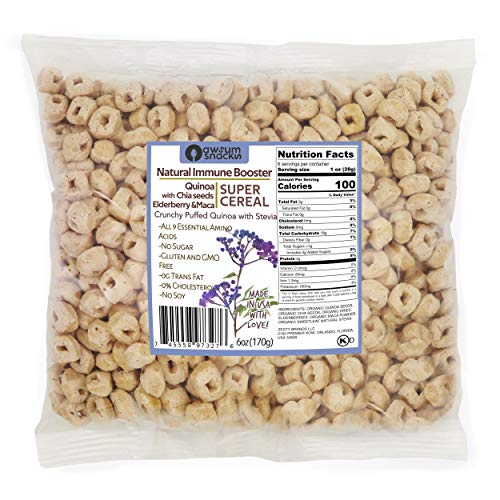 Awsum Snacks Quinoa SUPERCEREAL Plain Healthy 6oz bag - Vegan Gluten Free & Sugar Free Cereals - Diabetic Kosher Snack (Elderberry)