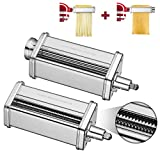 Pasta Roller & Spaghetti Cutter Attachment for KitchenAid Stand Mixers,Stainless Steel Pasta Sheet Noodle Maker Accessories, 2Pcs