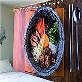 MRQXDP Tabla Deliciosa Comida de mariscos Mantel Toalla de Playa patrón decoración del hogar Tapiz Pared Arte Sala.