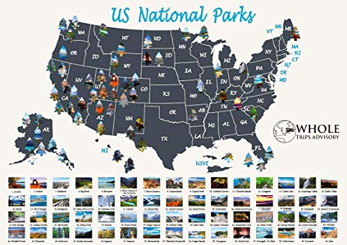 """US National Parks Scratch Off Map - Large Scratch Off National Parks Poster 24""""x 17"""" 60 US National Parks. Gold Foil Featuring Detailed Images. Includes Scratch Off Pen, Pick and Brush"""
