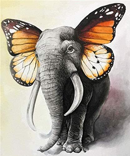 HAON Elefante Orejas de Mariposa Pintura por números Kits Patrón preimpreso DIY Pintura Digital Hecha a Mano Colorear sobre Lienzo Usted Mismo 16X20 Pulgadas sin Marco