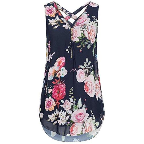 iHENGH Damen Frauen Kurzarm V-Ausschnitt Unregelmäßiger Hemd Lose Damen Casual Tee T-Shirt Tops Sommer Oberteile