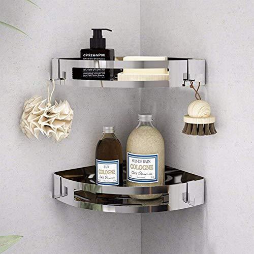 GCBTECH Estantería esquinera para ducha, de acero inoxidable, sin taladrar, 2 unidades, organizador para ducha, estante de ducha, estante de baño, estante autoadhesivo, inoxidable 304