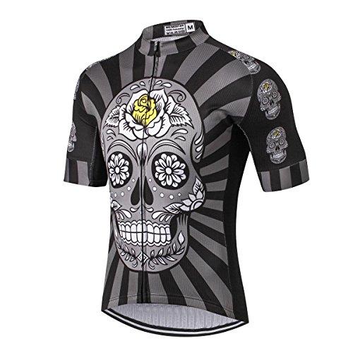 Weimostar - Maglia da ciclismo da uomo per mountain bike, a maniche corte, taglie S-5XL, Uomo, Fiore teschio nero, 3XL For Chest 42-45'