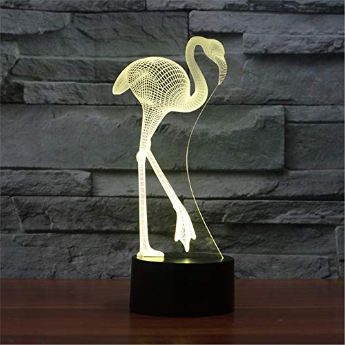 LBJZD nachtlicht 3D Flamingo Led Nachtlicht 7 Farbe Dimmen Illusion Schlafzimmer Vogel Lampe Urlaub Licht Kinder Kinderspielzeug Für Party Ohne Fernbedienung