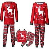 Familien Pyjama Schlafanzug Weihnachten Eltern-Kind Familie Set Mama Dad Christmas Outfit Baby Kid Weihnachtsoutfit Nachtwäsche Kinder Hirsch Brief Top T-Shirt + Karohose Home Service Set