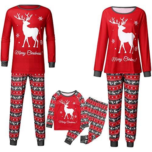 Yogogo Weihnachten Schlafanzug Familien Pyjama Set Lang Nachthemd Nachtwäsche Hausanzug mit Davidshirsch Schlafanzug Warm Weihnachtspyjama Freizeitanzug Geschenk für Erwachsene Kinder