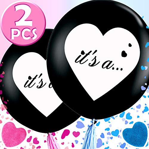 Wmbetter 36 Inch Gender Reveal Balloon 2 Pcs Jumbo Black Balloons with Pink and Blue Heart Confetti for Reveal party Gender Reveal Party Supplies