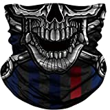 Skull Face Mask Dust Wind Sun Protection Seamless 3D Tube Mask Bandana for Men Women Durable Thin Breathable Skeleton Mask Motorcycle Riding Biker Fishing Cycling Sports (Black-a)