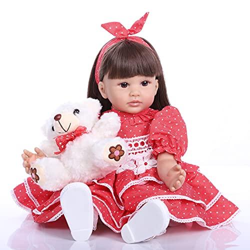 ZIYIUI 60 cm 24 Pouces Poupée Reborn Bébé Fille Vinyle Silicone Souple Vinyle Poupée Réaliste Bébé Baby Dolls Nouveau-né des Vêtements Cadeau Enfant Magnétique Jouet