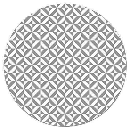 Panorama Tapis du Sol Vinyle Ronde Géométrie Grise 100x100 cm - Tapis de Cuisine en PVC Linoléum Vinyle - Antidérapant Lavable Ignifuge - Tapis pour Cuisine Bureau Salon - Protection du Sol