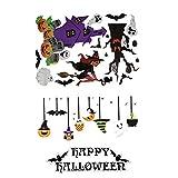 2 hojas de pegatinas para ventana de Halloween, pegatinas para ventanas, murciélagos, fantasmas,...