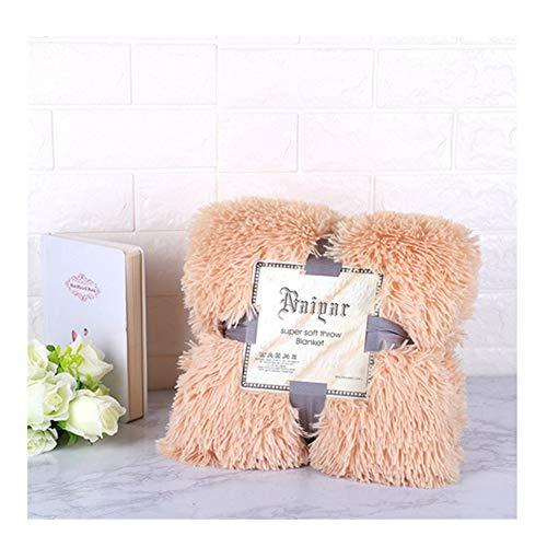 Super Suave de Piel sintética Fuzzy Elegante Acogedor con mullida Manta del Tiro Sofá Cama Colcha Largo lanudo Caliente Hoja de Cama Funda de Almohada (Color : Light Brown, Size : 160x200cm)