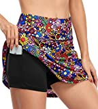 Fulbelle Plus Size Golf Clothes for Women, Teen Girls Summer Athletic Tennis Skorts Skirt with Pockets Workout Athletic Shorts Flowy 2020 Fashion Gym Wear Colorful Flower XX-Large