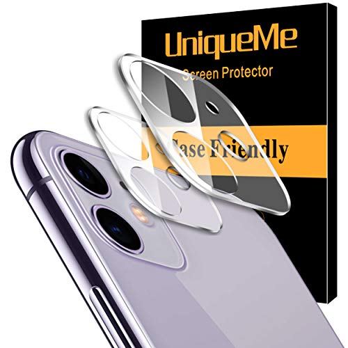 [ 2 Pack] UniqueMe Camera Lens Protector for Apple iPhone 11 Tempered Glass, Easy Install 9H Hardness Bubble Free