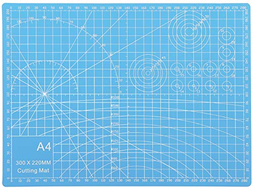 Rocoo カッターマット A1 A2 A3 A4 A5 カッティングマット 5層シート構造 両面印刷 傷自動癒合機能 3mm厚さ グリーン プラモデル用工具 下敷き デスクトップ保護 (スカイブルー, A4 (縦300×横220×厚さ3mm))