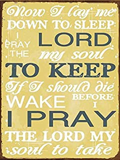 Now I Lay Me Down to Sleep Prayer Metal Sign, Childrens Décor, Nursery Décor