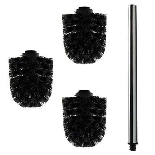 3x Ersatz Bürstenkopf schwarz + Griff ca. 40 cm/Austausch Toilettenbürste/Klobürste