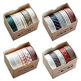 Juego de rollos de cinta adhesiva Washi en cuatro temas, 20 unidades de 10 mm x 5 metros de cinta decorativa para manualidades, para álbumes de recortes, envolver regalos, bricolaje
